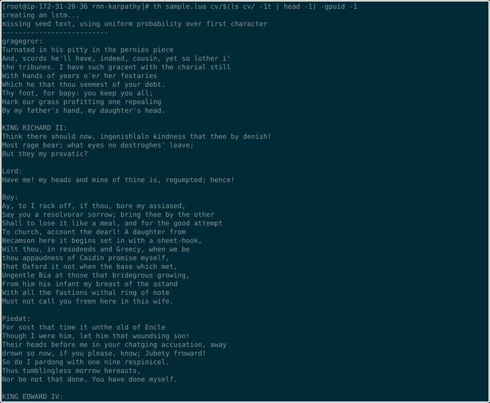 , Bootstrap Karpathy RNN