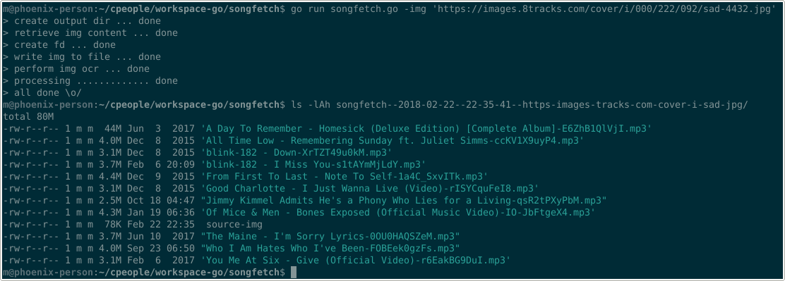 , Fetch songs from image playlists with Golang